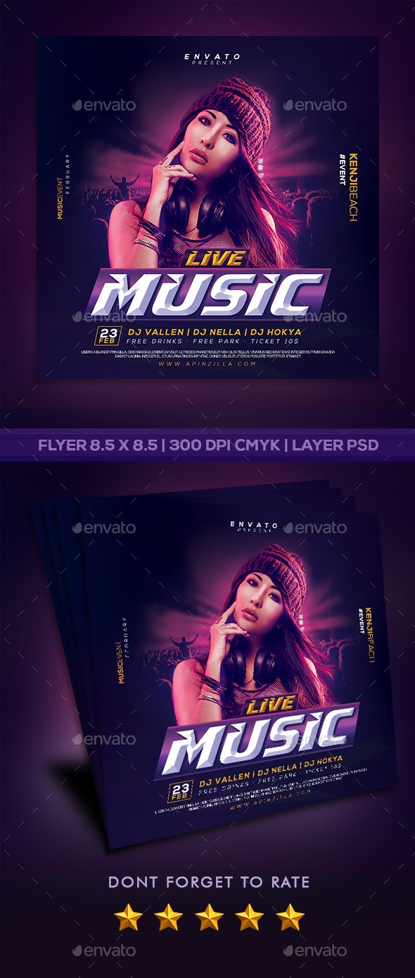 DJ Live Music Flyer - Clubs & Parties Events