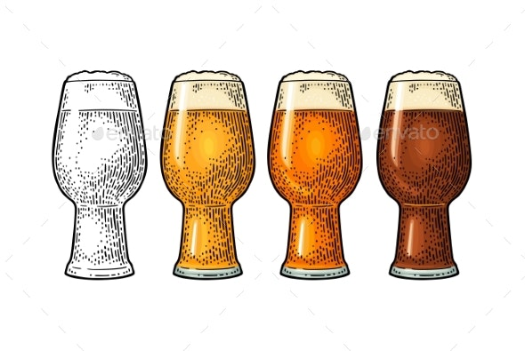 Glass with Different Types Beer - Food Objects