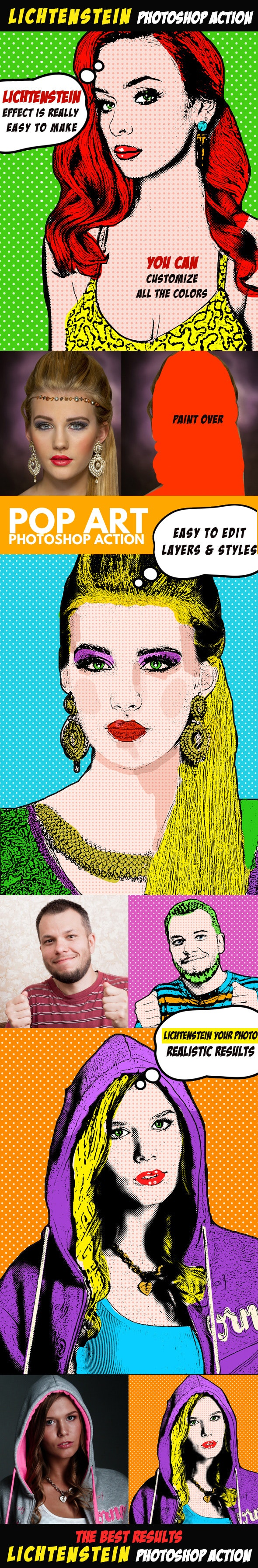 Pop Art Photoshop Action (Lichtenstein Effect) - Photo Effects Actions