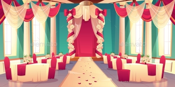 Banquet Hall Ready for Wedding Ceremony Vector - Backgrounds Decorative