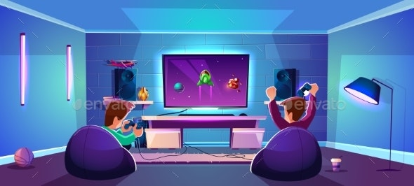 Vector Game Room with People Esports Concept - Backgrounds Decorative