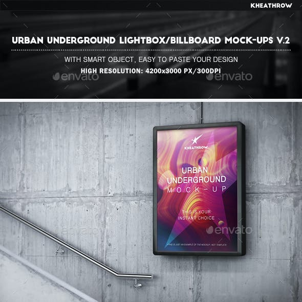 Urban Underground Lightbox / Billboard Mock-Ups Vol.2