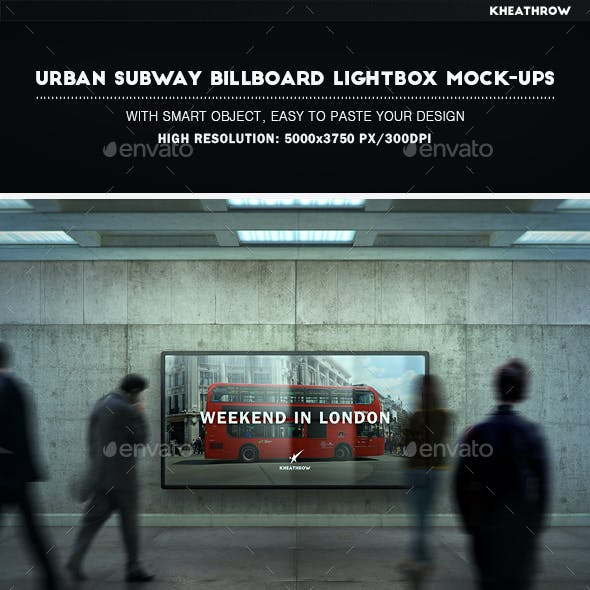 Urban Subway Billboard Lightbox Mock-Ups