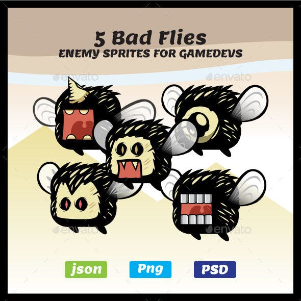 Five Bad Fly Characters | 2D Game Sprites