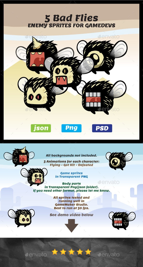 Five Bad Fly Characters | 2D Game Sprites - Sprites Game Assets
