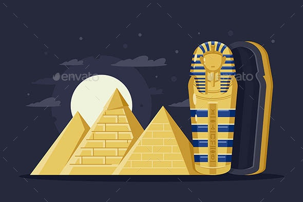 Flat Night Ancient Egypt with Pyramids - Buildings Objects