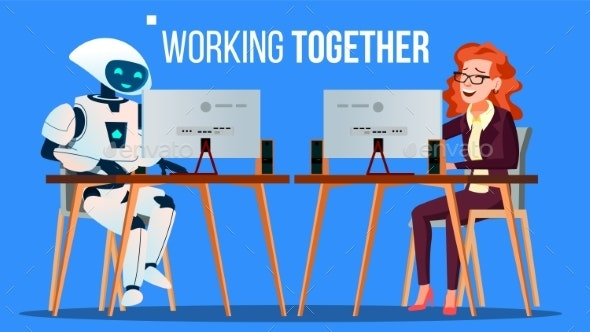 Robot Working In The Office At Computer Desk - Technology Conceptual