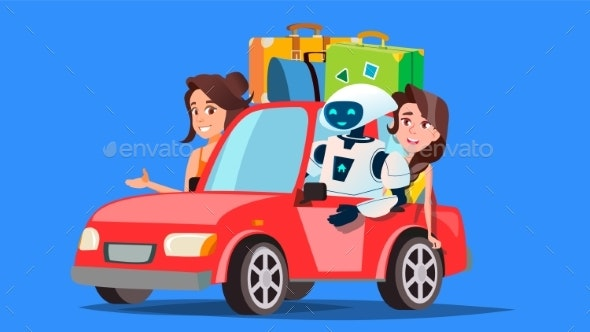 Robot And People Travelling By Car With Suitcases - Technology Conceptual