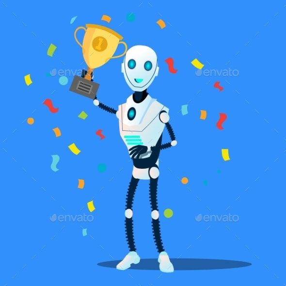 Robot Holds The Winner Cup In Hand Vector - Technology Conceptual