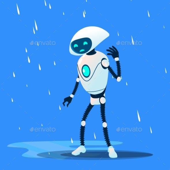 Sad Brocken Robot On Rain Vector. Isolated