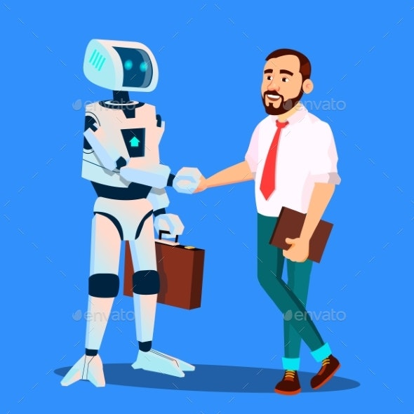 Robot With Briefcase Shakes Hands With Businessman - Technology Conceptual