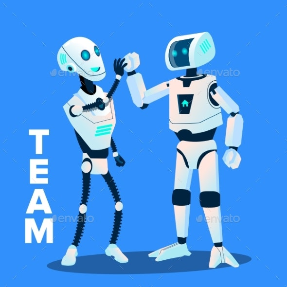 Team, Two Robots Give Five To Each Other Vector - Technology Conceptual