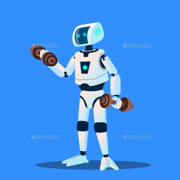 Robots Doing Sports In Gym Vector. Isolated - Technology Conceptual