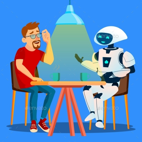 Robot Having A Good Time With Friend Man At Table - Technology Conceptual
