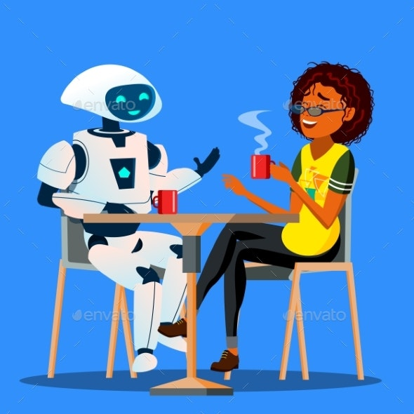 Robot Having A Good Time With Friend Woman At - Technology Conceptual