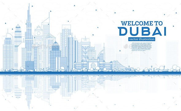 Outline Welcome to Dubai UAE Skyline with Blue Buildings - Buildings Objects