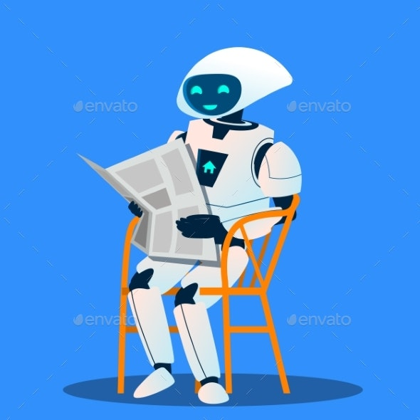 Robot Resting On Chair And Reading Newspaper - Technology Conceptual