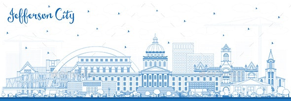 Outline Jefferson City Missouri Skyline with Blue Buildings - Buildings Objects
