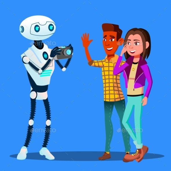 Robot Takes Pictures Of Young Happy Couple Man And - Technology Conceptual