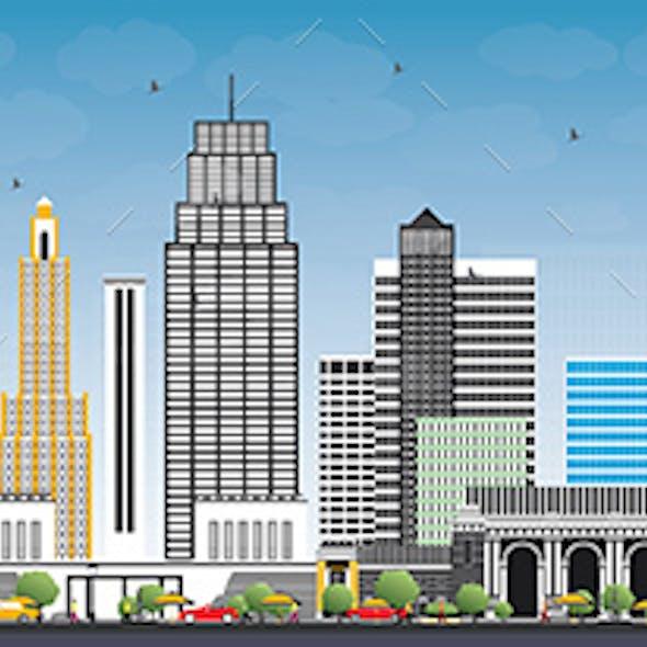 Kansas City Missouri Skyline with Color Buildings