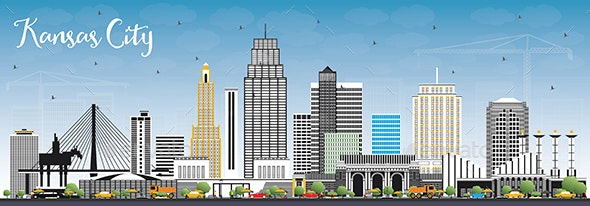 Kansas City Missouri Skyline with Color Buildings - Buildings Objects