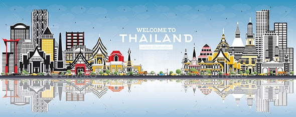Welcome to Thailand City Skyline with Color Buildings - Buildings Objects