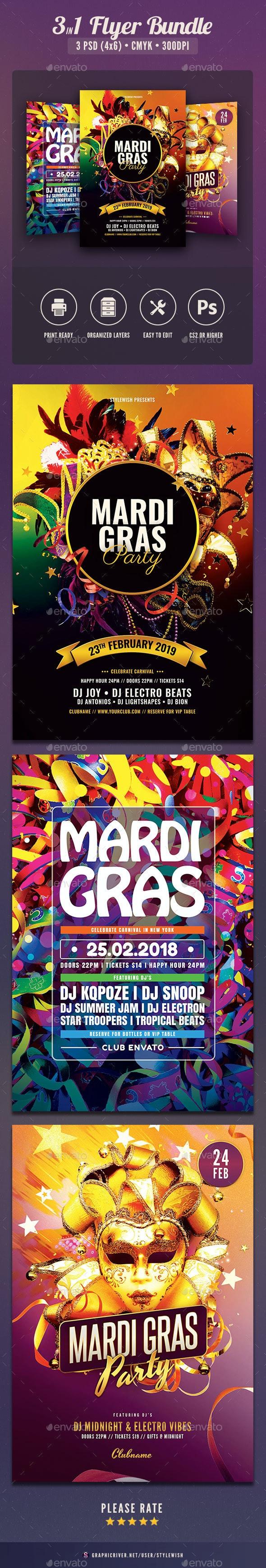 Mardi Gras Flyer Bundle Vol.03 - Clubs & Parties Events