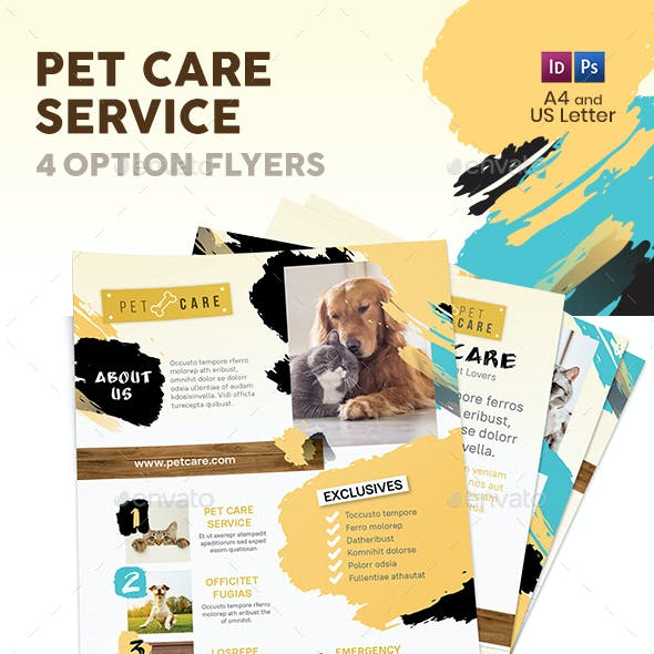 Pet Care Flyers 8 – 4 Options