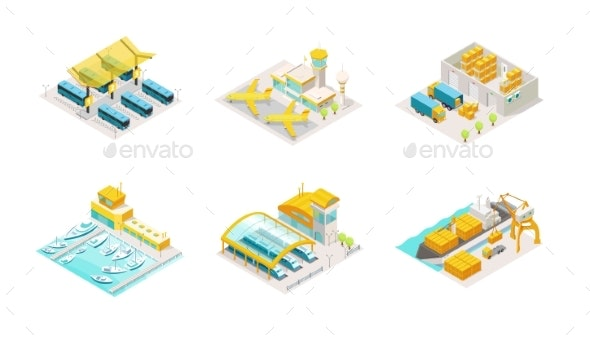 Set of Transportation Isometric Bus Station - Miscellaneous Vectors