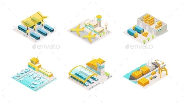 Set of Transportation Isometric Bus Station - Miscellaneous Vectors