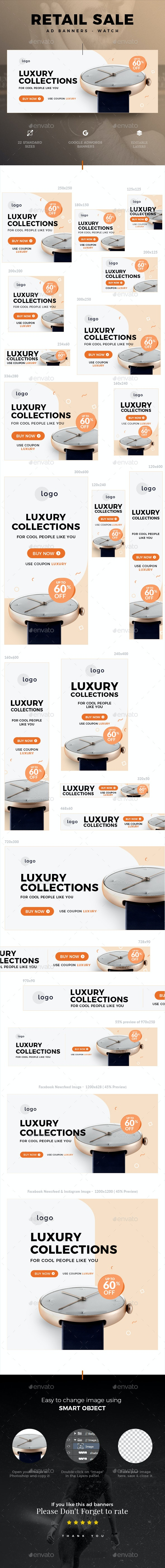 Retail Sale Web Ad Banners - Watch - Banners & Ads Web Elements