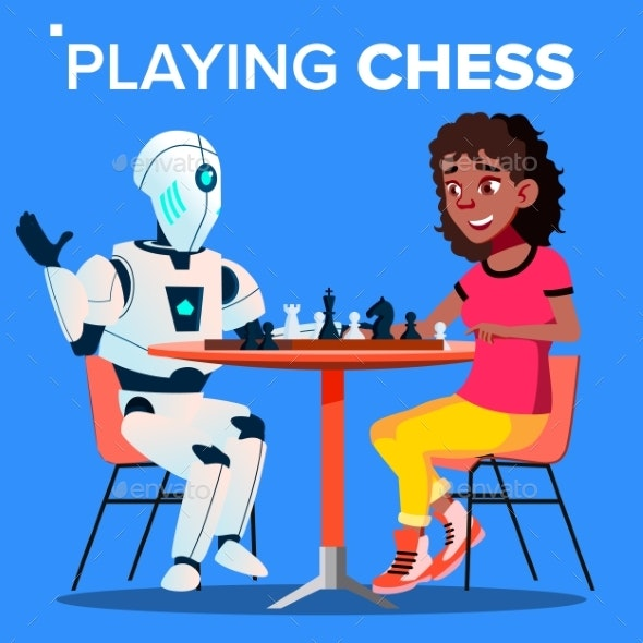 Robot Playing Chess With Woman Vector. Isolated - Technology Conceptual