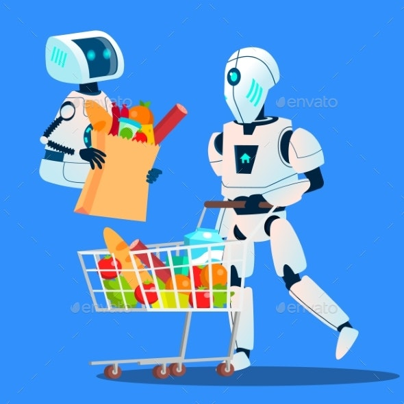 Sales, Robot Going With Large Shopping Bags - Technology Conceptual