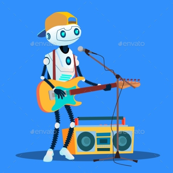 Robot Playing Guitars And Singing At The Street - Technology Conceptual
