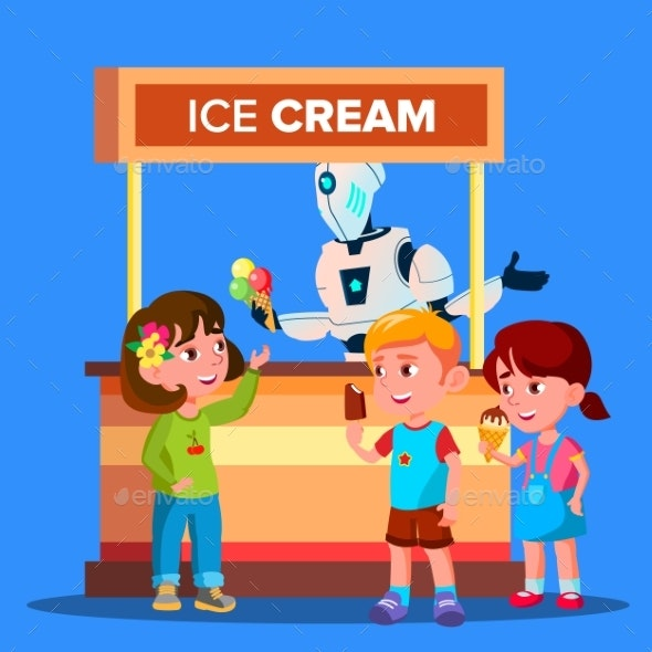 Robot Sells Ice Cream To Happy Boys And Girls - Technology Conceptual