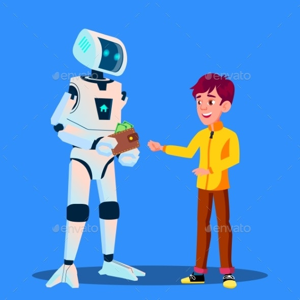 Robot Gives Money To Child Vector. Isolated - Technology Conceptual