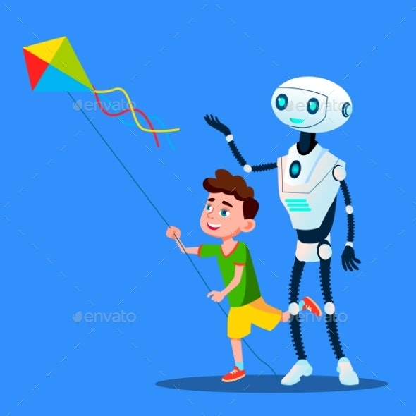 Robot With Child Fly A Kite Vector. Isolated - Technology Conceptual