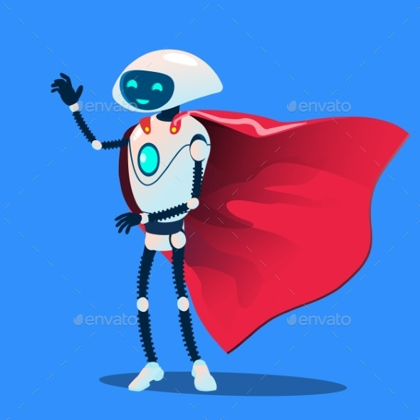 Robot Wearing Red Super Hero Cloak Vector - Technology Conceptual