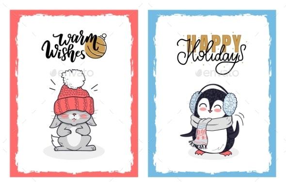 Christmas Greeting Card with Cartoon Animals - Seasons Nature