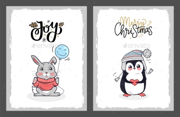Christmas Happy Holidays Postcard Penguin and Hare - Miscellaneous Vectors