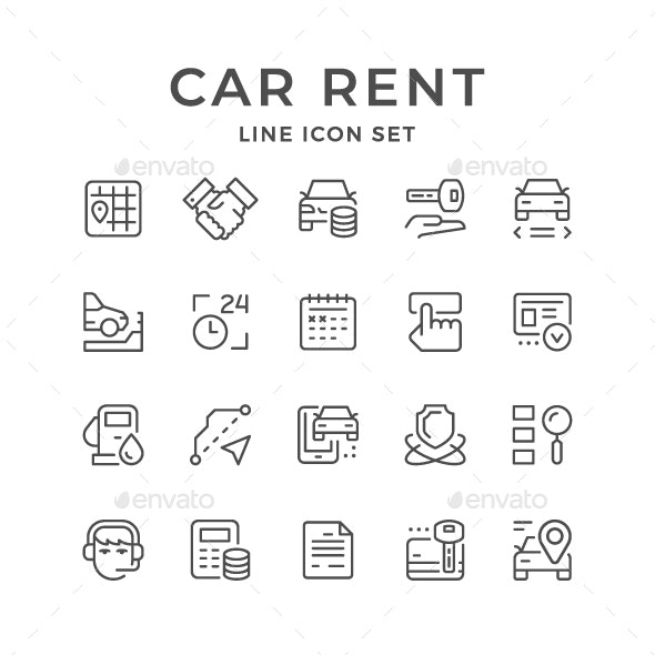 Set Line Icons of Car Rent - Man-made objects Objects