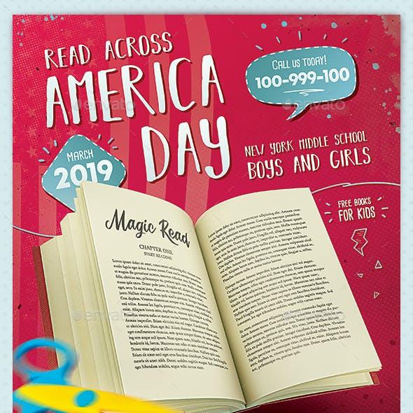 Read Across America Flyer Template School Kids Reading Day
