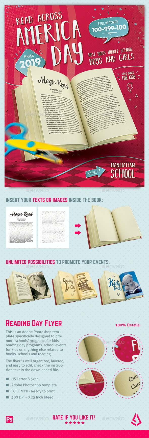 Read Across America Flyer Template School Kids Reading Day - Miscellaneous Events