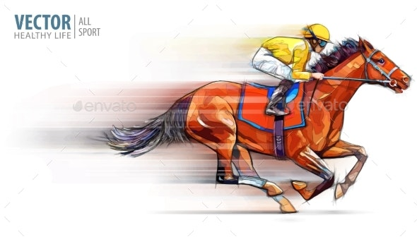 Jockey on Racing Horse Champion - Sports/Activity Conceptual