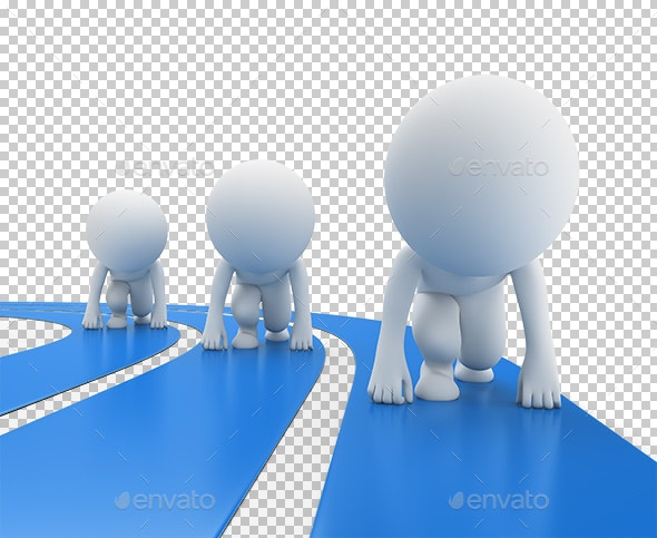 3D Small People - Runners at the Start - Characters 3D Renders