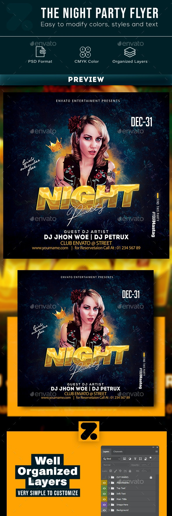 The Night Party Flyer - Events Flyers