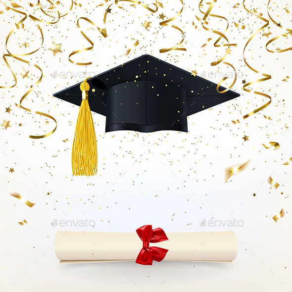 Congratulatory Banner with a Graduate Cap and Diploma - Concepts Business