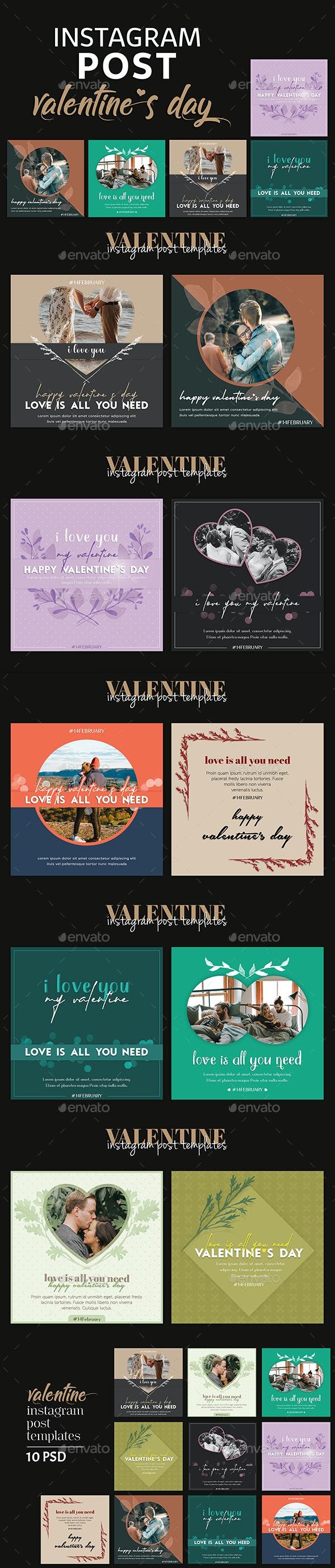 Valentine Instagram Post Templates - Social Media Web Elements