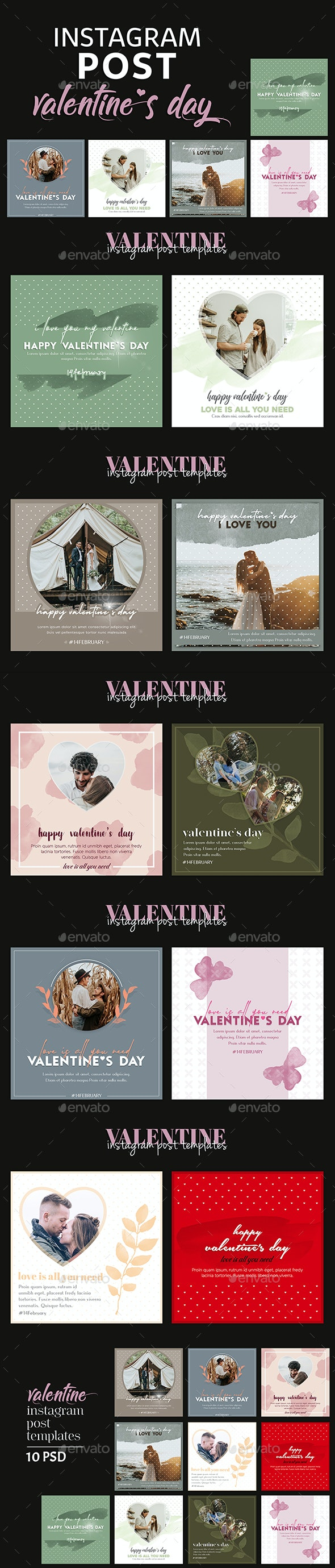 Valentines Day Instagram Post Templates - Social Media Web Elements