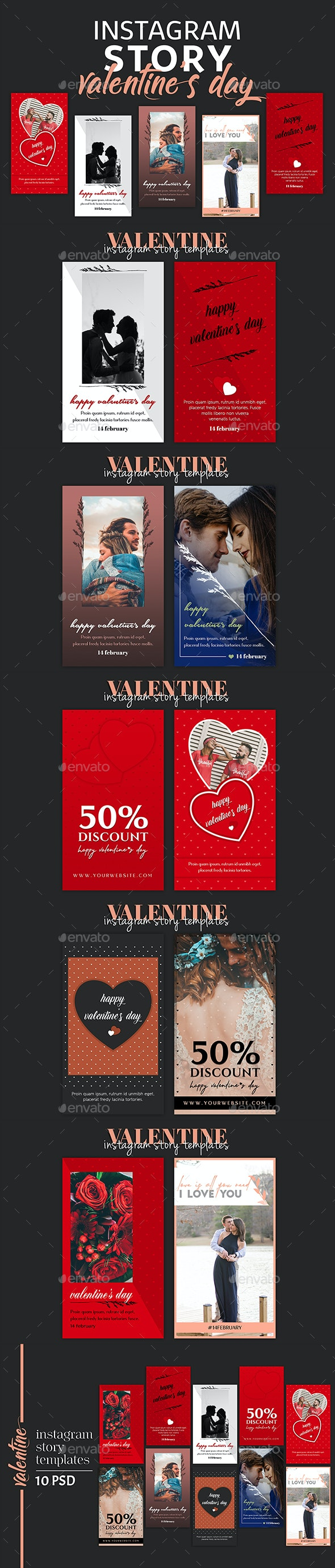 Valentines Day Instagram Story Templates - Social Media Web Elements